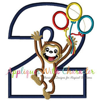 Curious Monkey Two Balloons Applique Design