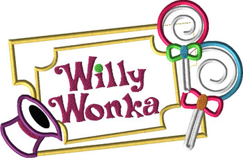 Willie Wonky Golden Ticket Lollipop Applique Design