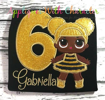 Glitter Doll Applique Design