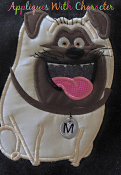 Pets Pug Applique Design