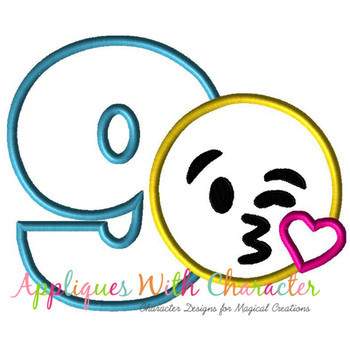 Emoji Kiss Nine Applique Embroidery Machine Design