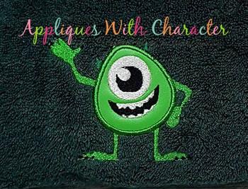 Monster One Eyed Green Applique Design