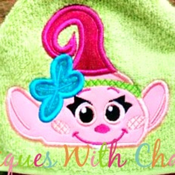 Peeking Baby Poppy Troll Movie Applique Design
