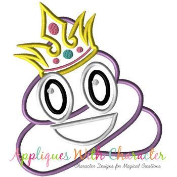 Poop Princess Emoji Applique Design