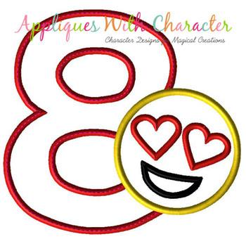 Love Emoji EIGHT Applique Design