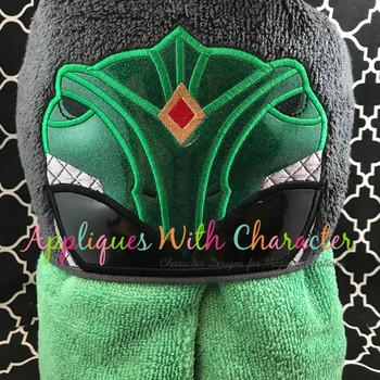 Hero Ranger Green Fighter Peeker Applique Design