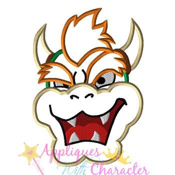 Mean Dragon Face Applique Design