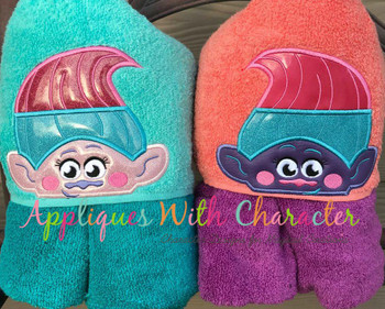 Twin Troll Peeker Applique Design