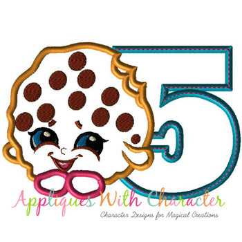 Five Shopikin Cooky Cookie Applique Design