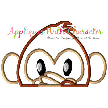 Emoji Monkey Peeker Applique Design