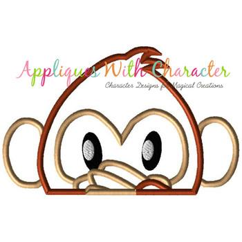 Emoji Monkey Peeker Applique Design