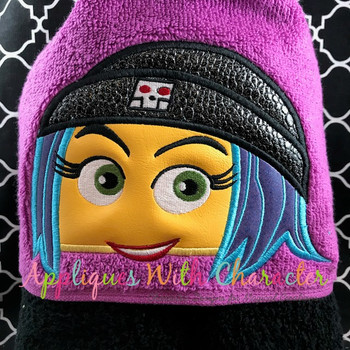Emoji Girl Peeker Applique Design