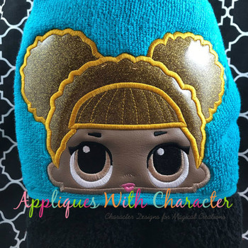 Glitter Doll Peeker Applique Design