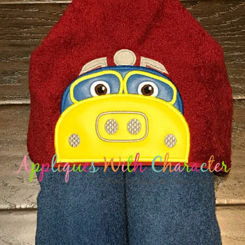 Chug Yellow Train Peeker Applique Design