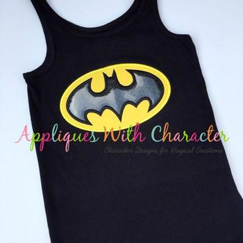 Bat Hero Oval Applique Design