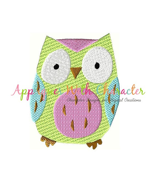 Owl Filled Stitch Embroidery Design