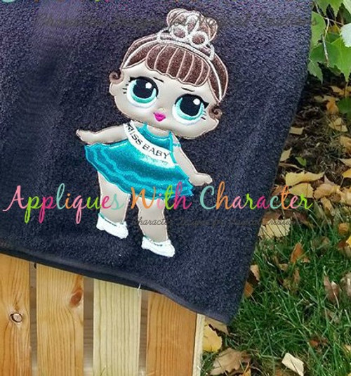 Miss Baby Doll Applique Embroidery Design