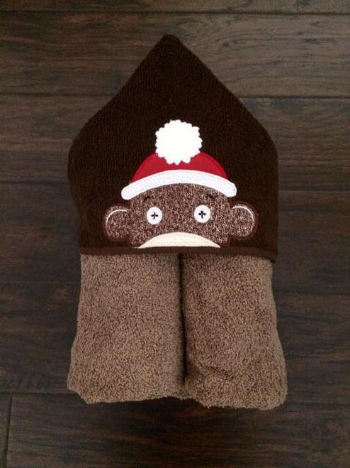 Boy Sock Monkey Peeker Applique Design
