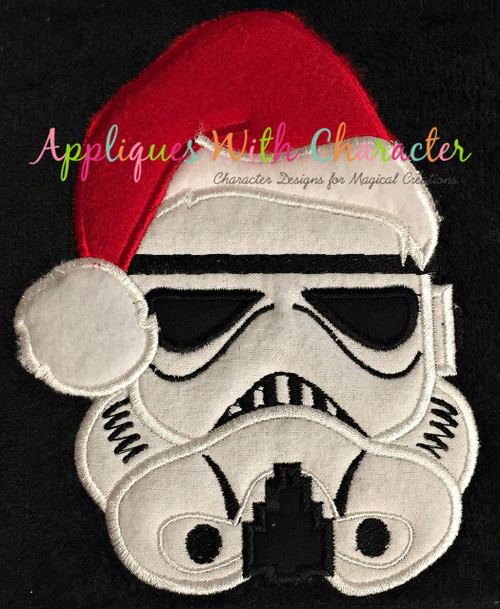 Stormtrooper Star Fight with Santa Hat Applique Design