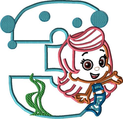 Bubble Girl THREE Applique Design
