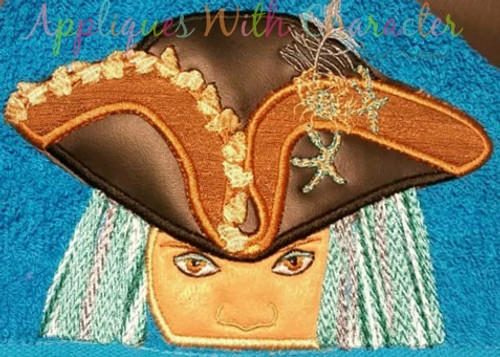 Girl Pirate Peeker Applique Design