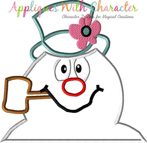 Frostee Snowman Bust Applique Design