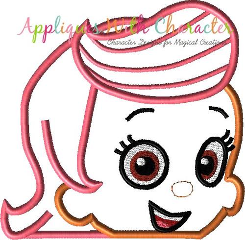 Bubble Girl Peeker Applique Design
