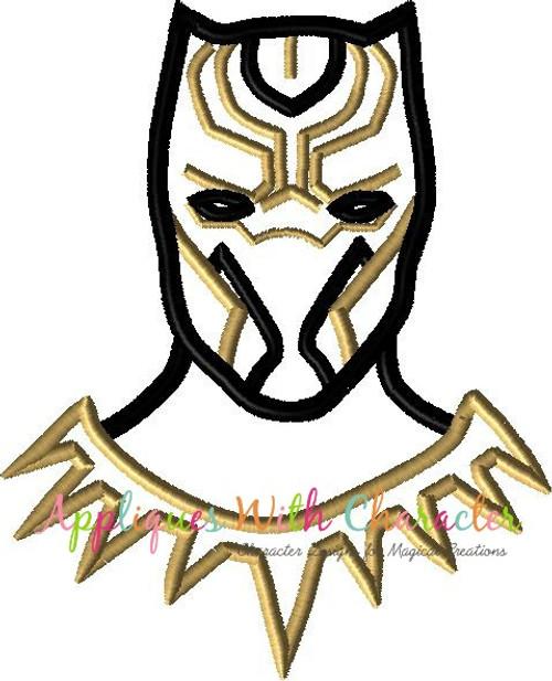 Black Panther Bust Applique Design
