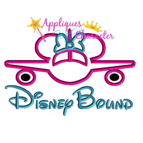 Disney Bound Miss Mouse Airplane Saying Applique Design