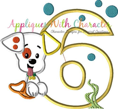 Bubble Puppy SIX Applique Design