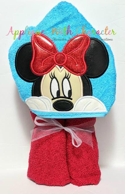 Miss Mouse Peeking Face Applique Design