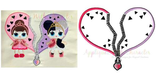Split Heart Backdrop Applique Design for Dolls