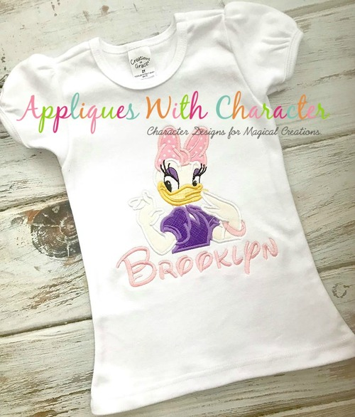 Daizy Duck Bust Applique Design