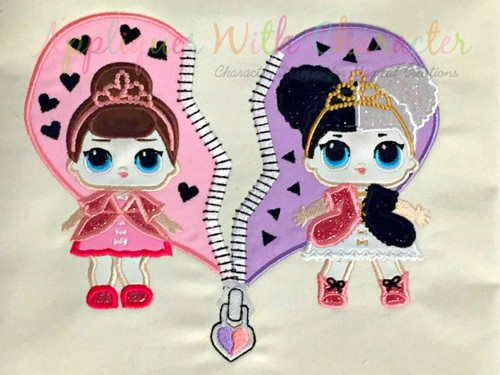 Split Heart with Heartbreaker and Fancy Doll Applique Design