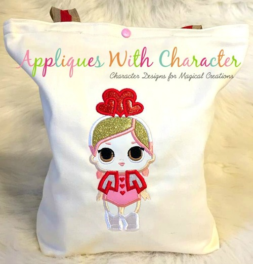 Valentines Doll Applique Design