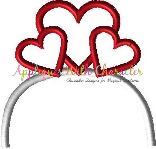 Hearts Headband Applique Design