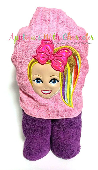 Jo Rainbow Hair Girl Applique Design