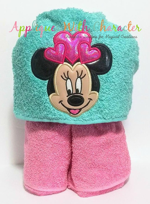 Miss Mouse with Hearts Applique Design