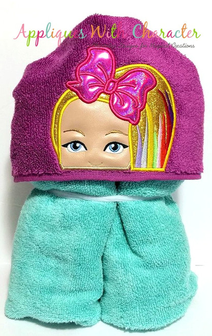 Jo Rainbow Hair Peeker Applique Design