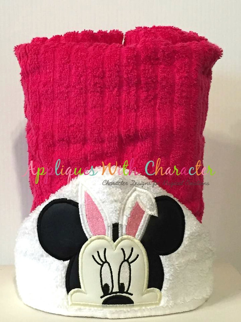 Miss Mouse with Bunny Ears Peeker Applique Design