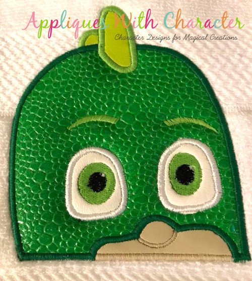 Hero Masked Gekko Peeker Applique Design
