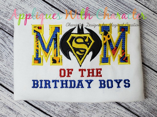 Super Hero Bat Hero Mom Applique Design