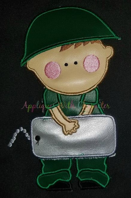 Army Man with Dog Tags Applique Design