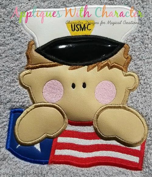 US Marine with American Flag Applique Design