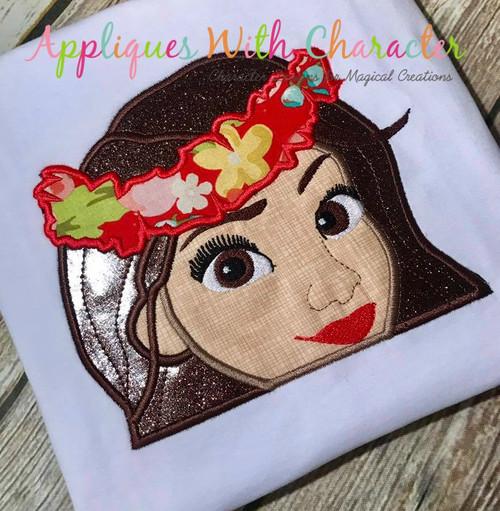 Island Girl Peeker Applique Design