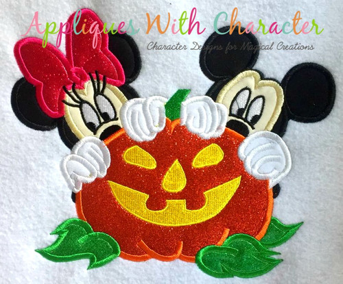 Mr Mouse Miss Mouse Halloween Pumpkin Applique Design
