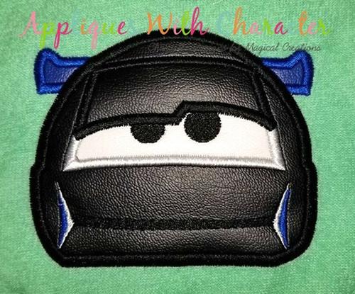 Cars Stormy Black Race Car Peeker Applique Design