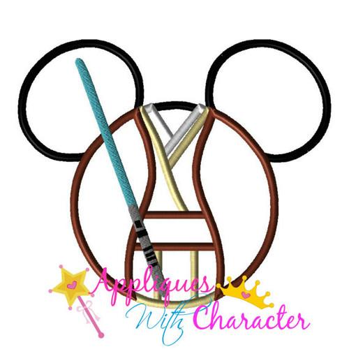 Mr Mouse Jedi Head Star Fight Applique Design