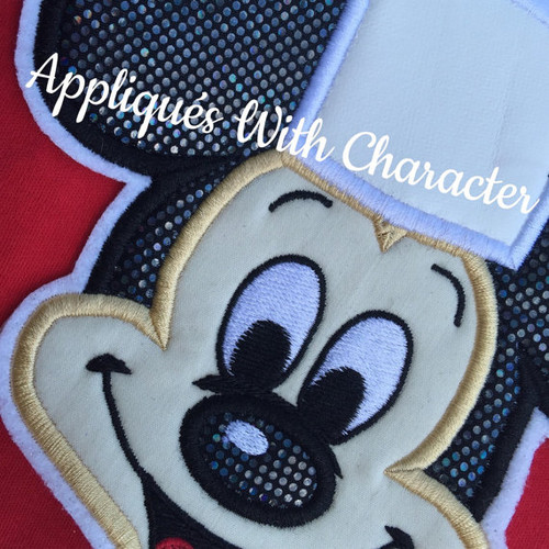 Chef Mr Mouse Face Applique Design