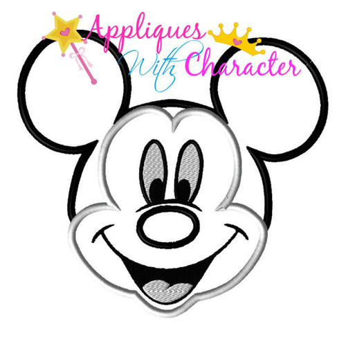 Mr Mouse Smile Face Applique Design